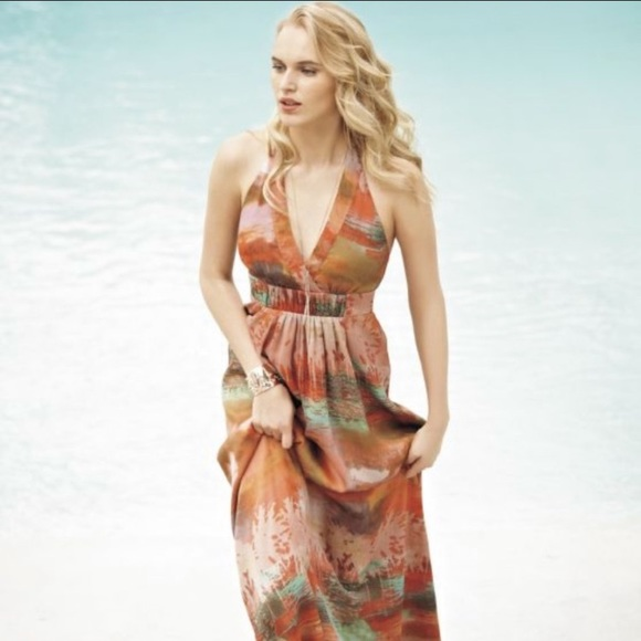 Jessica Simpson Dresses & Skirts - Jessica Simpson Water Color Halter Maxi Dress 12